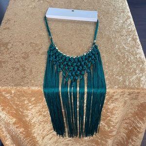 Swimwear Necklace green fringe w/ gold H&M NEW